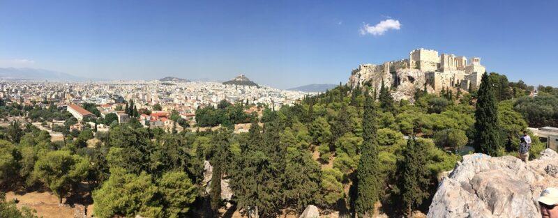 Vue d'Athènes avec l'Acropole et le Mont Lycabette
