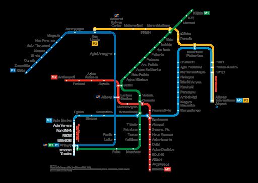 carte metro transports en commun athenes