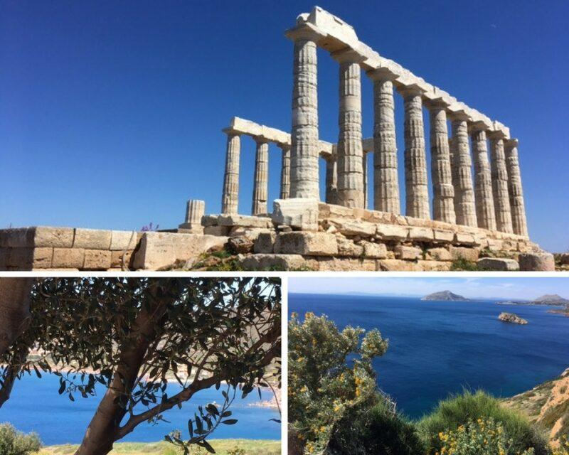 Le temple de Poseidon et la vue sur la mer