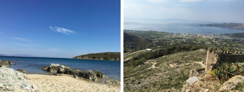 Baie de Karystos et Vue du Castelo Rosso