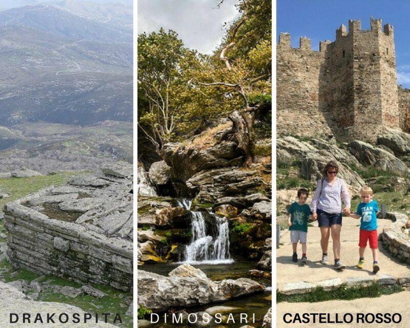 mont ochi eubee :castello rosso, drakospita, dimossari