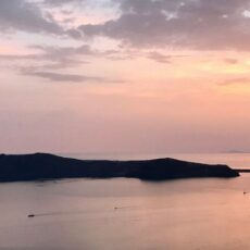 Photo d'un coucher de soleil à Santorin