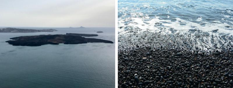 l'îlot volcanique de Nea Kameni et une plage de sable noir