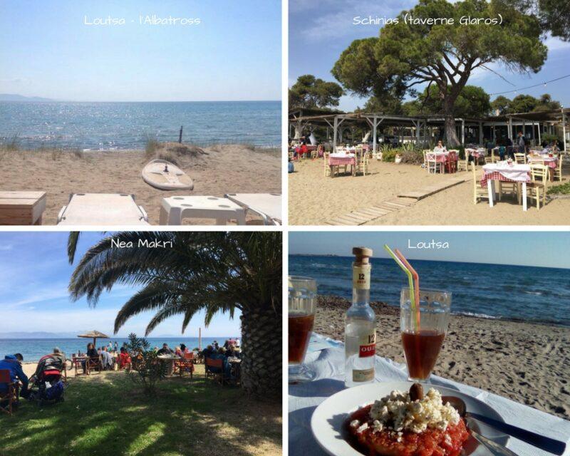 les plages sur la côte est d'Athènes