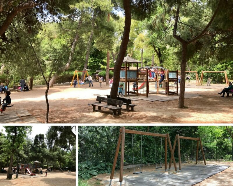 L'aire de jeux du jardin national à Athènes