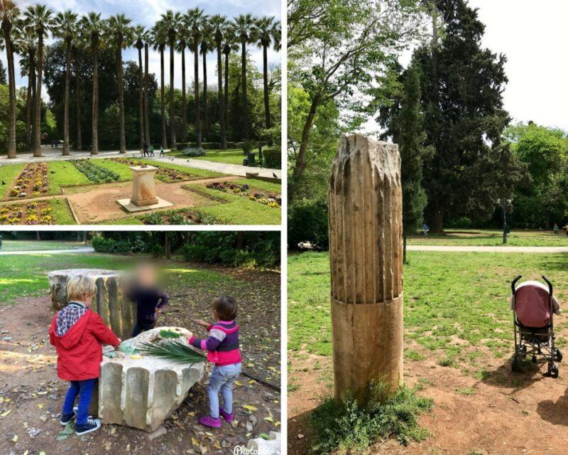 Le jardin national Athènes avec des enfants