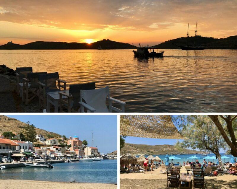 Coucher de soleil à Vourkari – port de Korissia – Plage d'Otzias