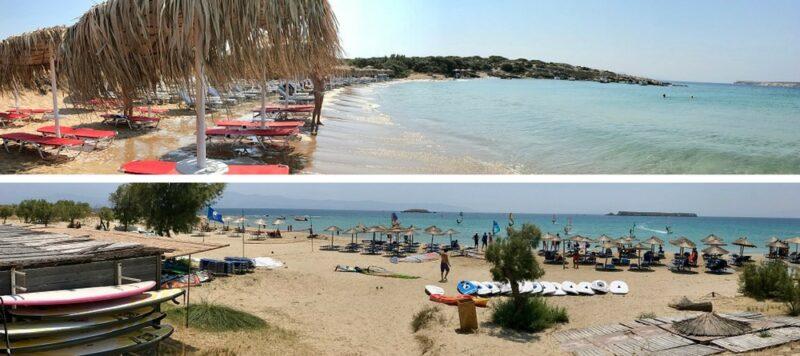 La plage Mikri Santa Maria (en haut) et New Golden Beach (en bas) sur l'île de Paros en Grèce