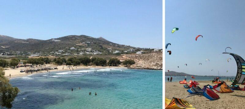 La plage de Parasporos (à gauche) et la plage de kitesurfing de Pounta (à droite)
