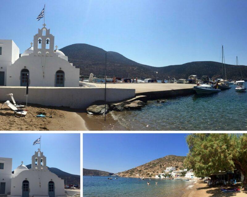La plage de Vathy et le monastère de Taxiarchis