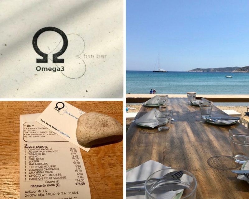 Restaurant Omega 3 - addition pour 4 adultes et 4 enfants
