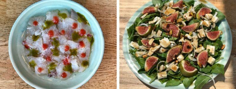 Les plats d'Omega 3 à Sifnos : tartare de poisson cru et salade de roquette et figues