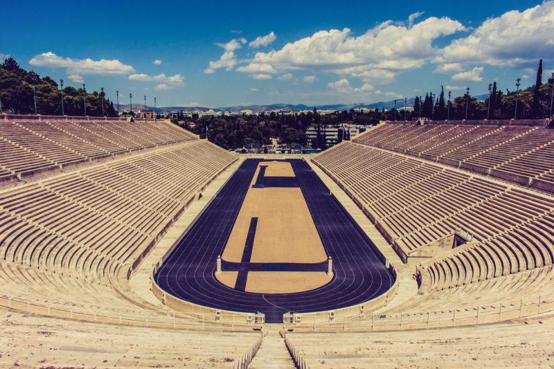 Le stade de marbre à Athènes, arrivée du marathon d'Athènes