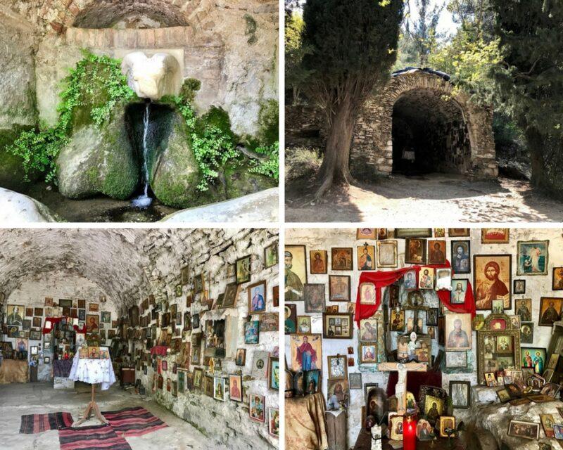 Athènes, le monastère byzantin de Kaisariani Kessariani, La fontaine à tête de bélier et la chapelle cachée dans la forêt