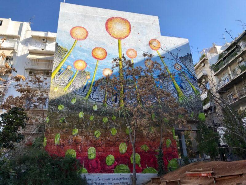 Le mur fait par Blue à Athènes, l'un des plus beaux graffitis de la capitale grecque