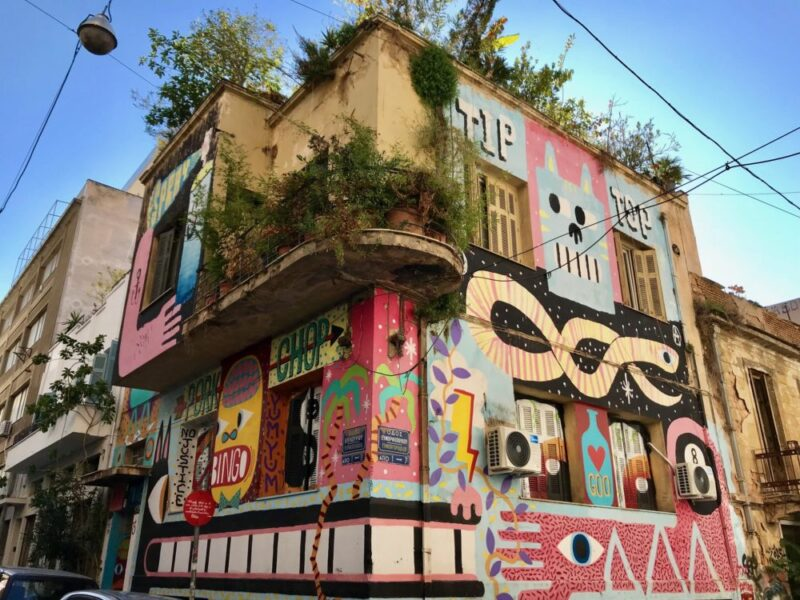 Immeuble entièrement recouverts de graffitis à Athènes Psiri