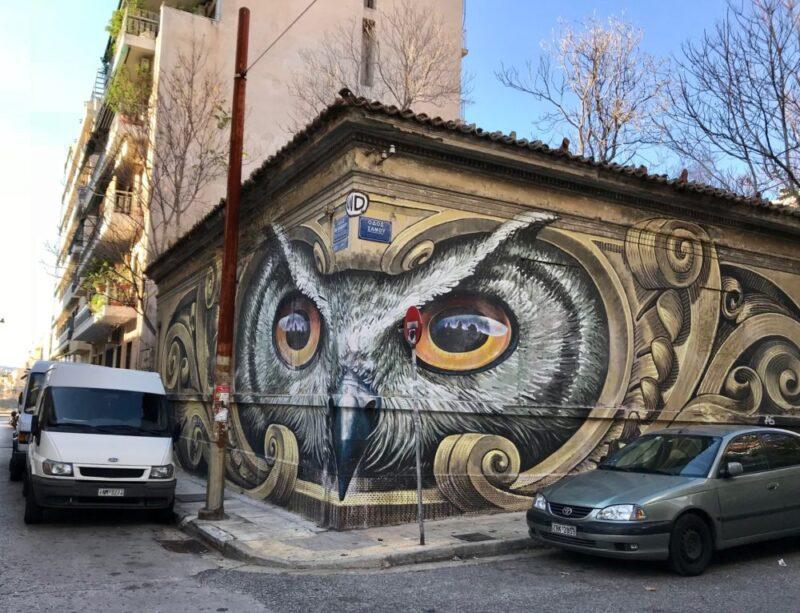 Le graffiti de la chouette à Athènes par Achilles WD