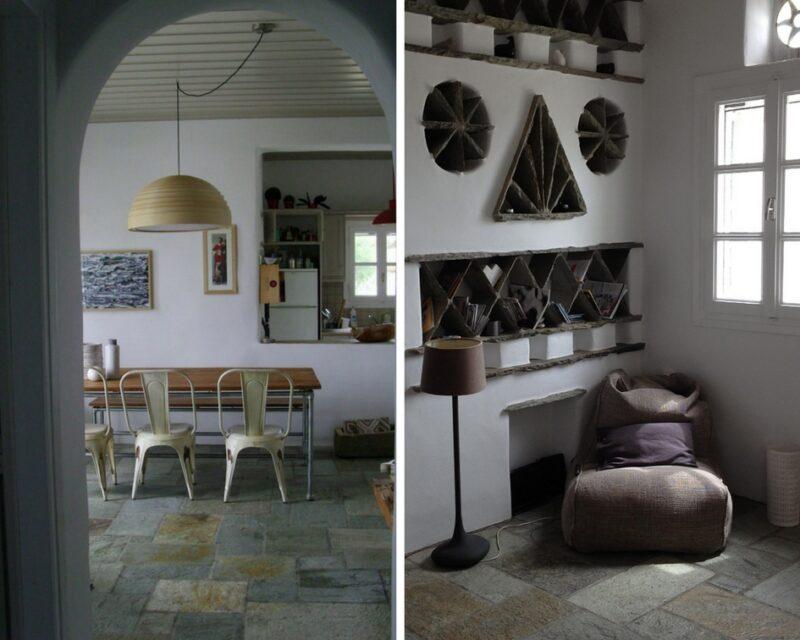 L'intérieur de la villa elia, pour louer une maison à Tinos Cyclades