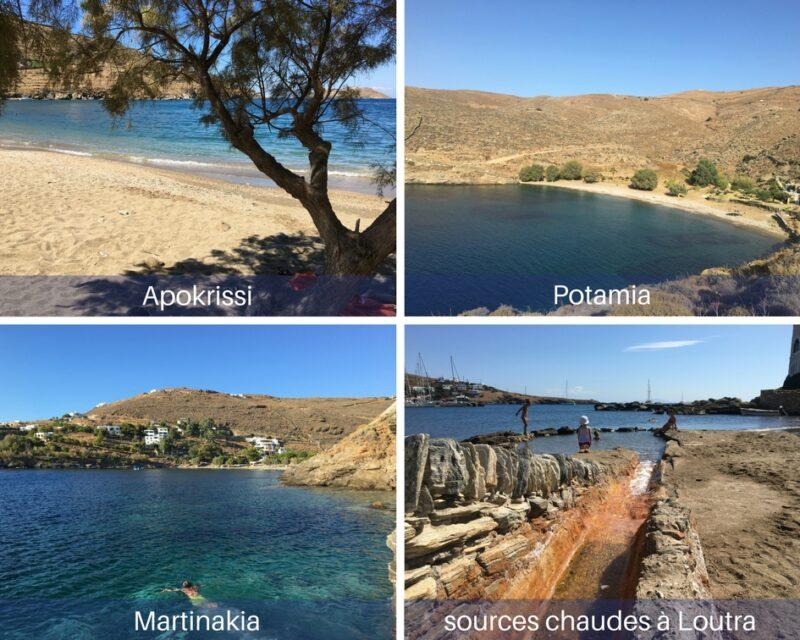 Les plages de Kythnos : loutra, potamia, apokrisis, matriakoni
