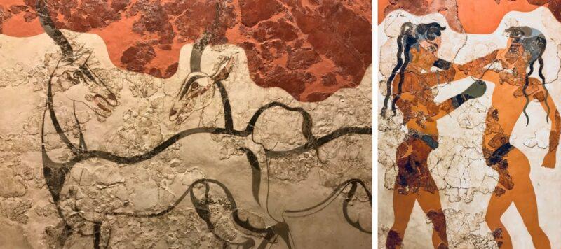 Le musée archeologique d'Athènes : les fresques d'akrotiri.