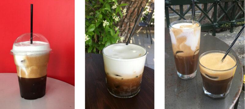 Capuccino fredo et Espresso fredo en version à emporter ou en terrasse en Grèce