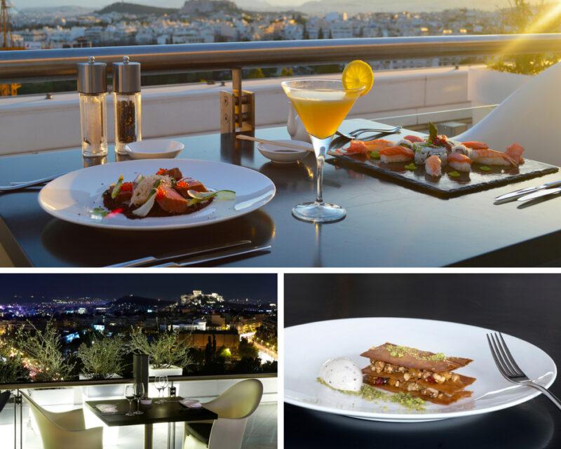 une soirée d'été à Athènes : le bar et restaurant du Hilton