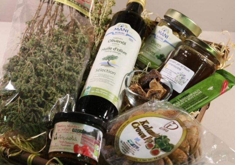 panier gourmand messenie cadeau grec huile olive mezzes