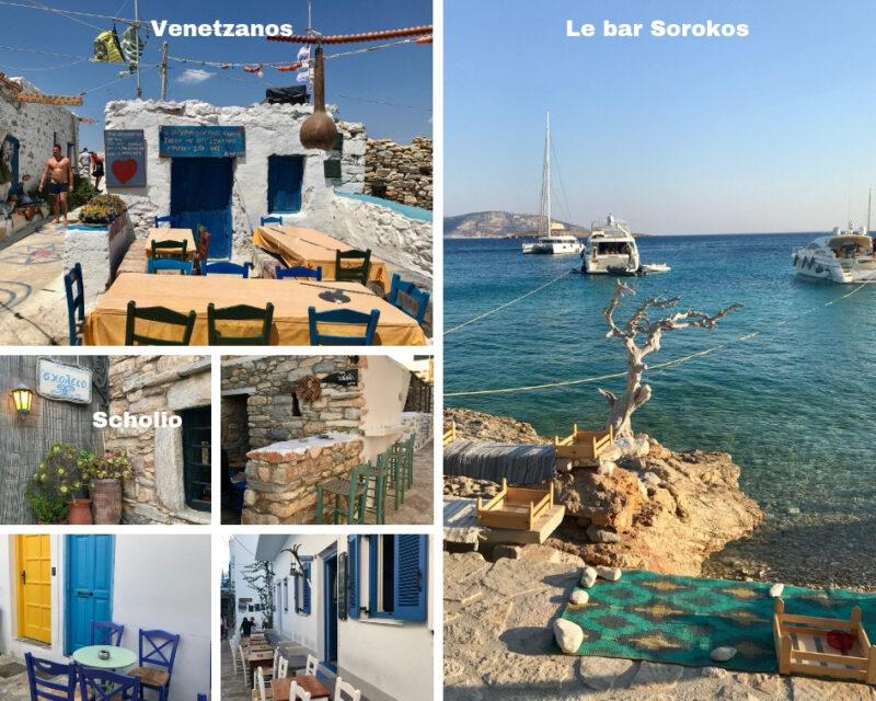 Les bars de L'île grecque Koufonissia dans les Petites Cyclades