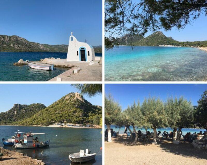 Le lac de Vouliagmeni, sa petite chapelle bleue et blanche, quelques bateaux de pêche et les tables sous les arbres de la taverne Δίαυλος