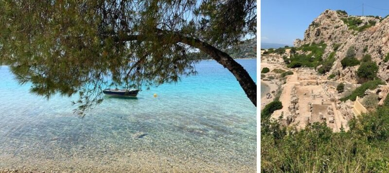 Le lac de Vouliagmeni et le site antique de l'Héraion de Perachora