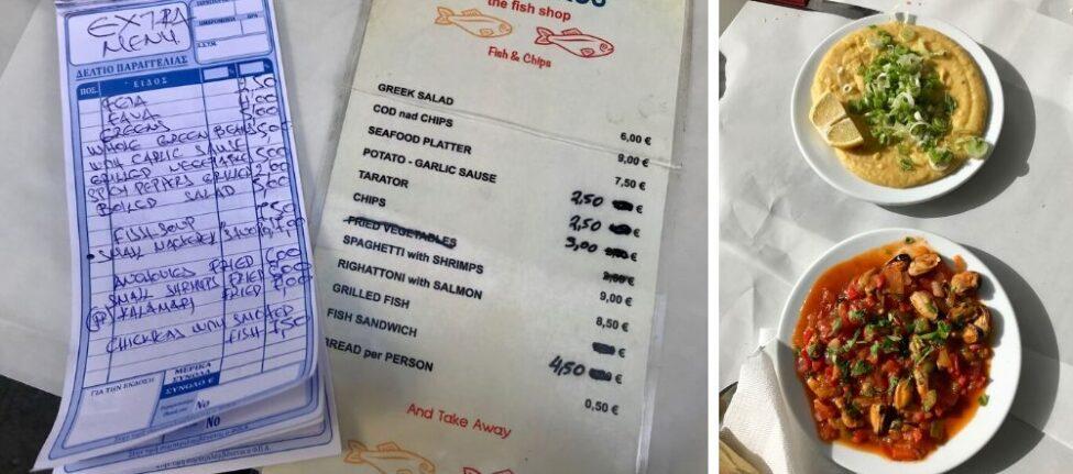 Manger en Grèce dans une taverne grecque -