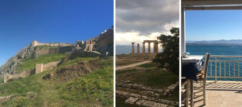 Forteresse d'Acrocotinthe, Site antique de Corinthe, Taverne à Loutraki, plages corinthe et loutraki