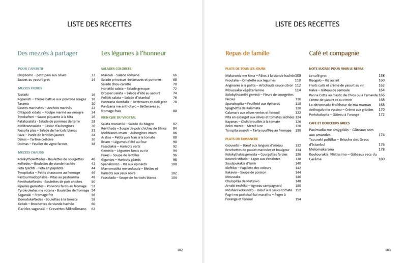 liste des recettes du livre de cuisine grecque d'Evi