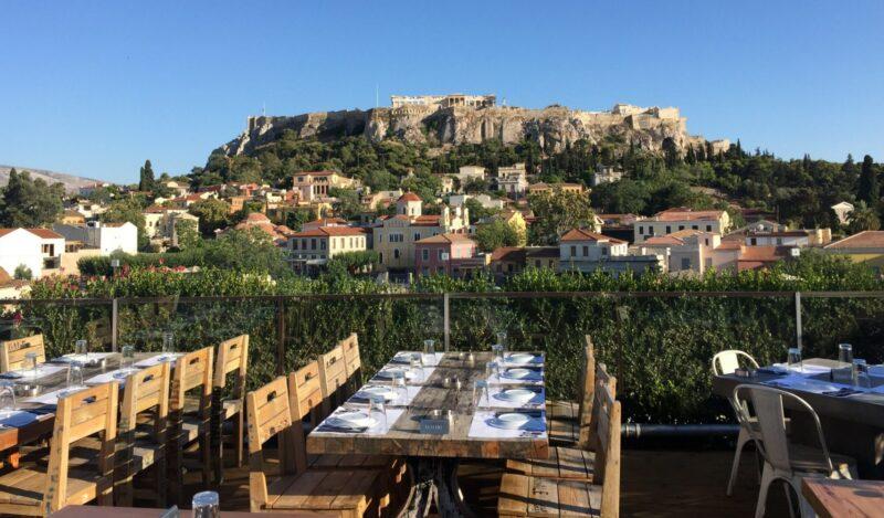 Terrasse vue acropole athenes