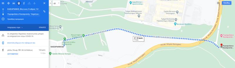 Point de départ de la randonnées sur le mont hymette à Athènes dans la forêt de Kaisariani