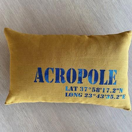 souvenir de Acropole coussin en lin personnalisé