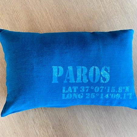 souvenir de Paros coussin en lin personnalisé