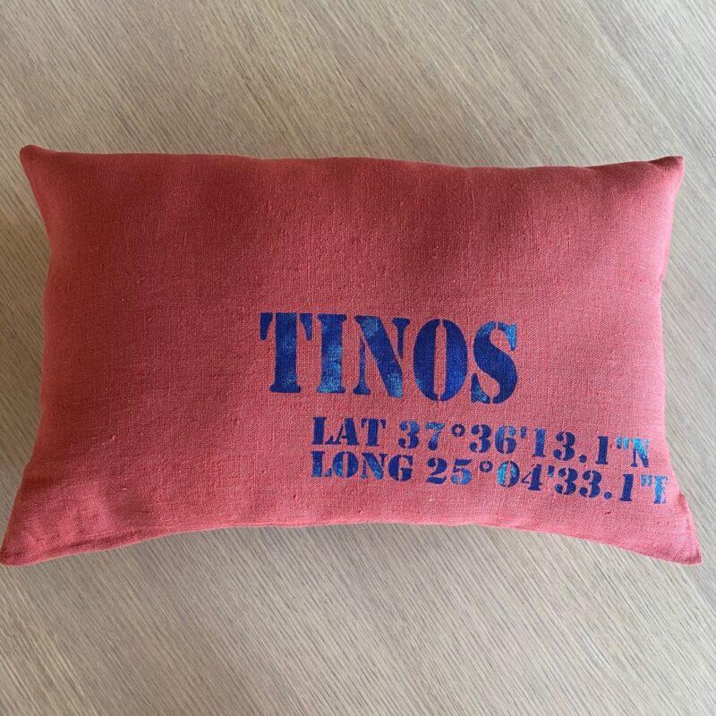 souvenir de Tinos coussin en lin personnalisé