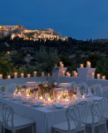 Athenes restaurant vue acropole Kuzina
